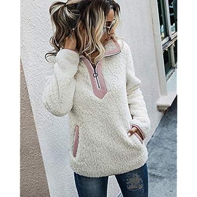 Womens Warm Long Sleeve Zipper Sherpa Sweatshirt Fluffy Cozy Fleece Pullover Coat Outwear with Pocket White M at Women's Coats Shop