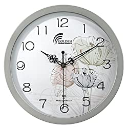 12 Inches Wall Clock , Best Designer Radio Controlled Clock , Silver Frame with Acrylic Lense ; Decor Clock & Modern / Decorative / Fancy / Art and Atomic Clock For Living Room / Bed Room / Office
