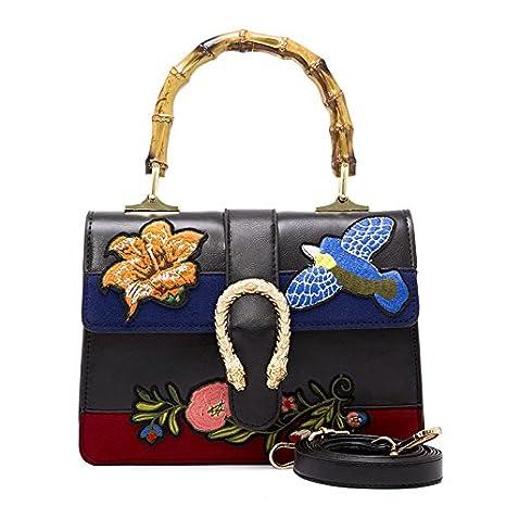 Ruanlei @ mochilas hombre casual impermeable/laptop backpack/Mochila de Negocio/Mochila Portátil Impermeable Bolso bordado étnico de bambú, negro,black: ...