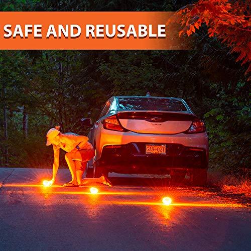 Roadside Safety Beacons for Truck Car Boat Storage Bag Set of 6 Emergency LED Road Flares Magnetic Base 9 Flash Modes Warning Lights with Hook GYMAX