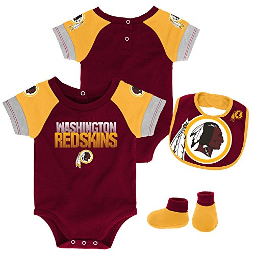 Outerstuff NFL NFL Washington Redskins Newborn & Infant 50 Yard Dash Bodysuit, Bib & Bootie Set Burgundy, 24 Months
