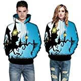 sweatshirt jacket women,Men Women Mode 3D Print Long Sleeve Halloween Couples Hoodies Top Blouse 5XL,Blue,5XL