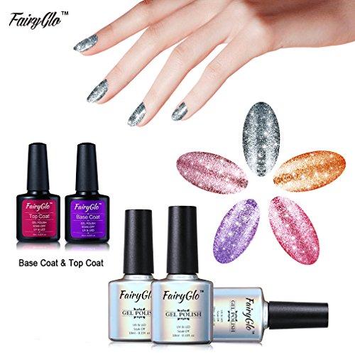 (FairyGlo 5 Colours Platinum Gel Nail Polish + Base Top Coat Soak Off UV LED Manicure Pro Nail Art Beauty Wearing Collection DIY Gift Set New 10ml 58012)