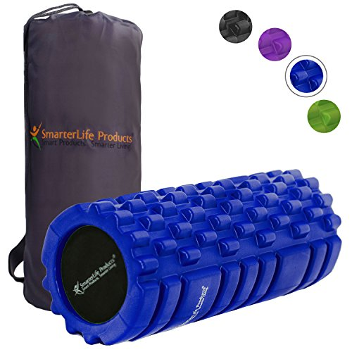 Foam Roller Massager for Trigger Point Therapy by SmarterLife - Massage Rollers for Sore Muscles, Pre and Post Workout, Exercise, Recovery, Yoga, Pilates, Cycling and Running (Blue) ()