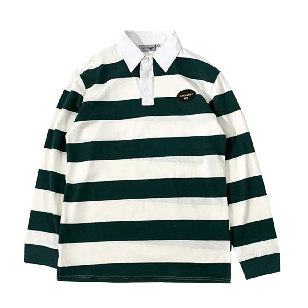 JHY Hombres Camiseta Polo clásica-Manga Larga, Camisa de Rayas ...
