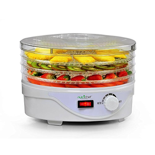 NutriChef Food Dehydrator Machine – Professional Electric Multi-Tier Food Preserver, Meat or Beef Jerky Maker, Fruit & Vegetable Dryer with 4 Stackable Trays – (PKFD08)