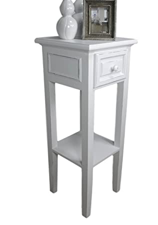 Elbmöbel Telephone Table In White With Drawer, Antique Country Style, Wood  Perfect Hallway Table