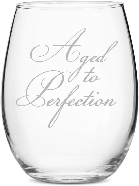 Birthday Wine Glass Aged To Perfection Stemless 15 Oz Wine Glass Amazon Ca Home Kitchen