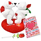 #1: Valentines Day Gifts for Her Girlfriend Women and Wife Plush Valentines Talking Kissing Bears, 5 Inch Forever Glass Rose in Gift Box and Valentines Card
