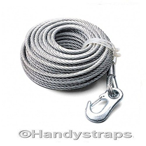 2.6 ton Wire Winch Cable with Winch Hook 6mm x 15 Meter HandyStraps