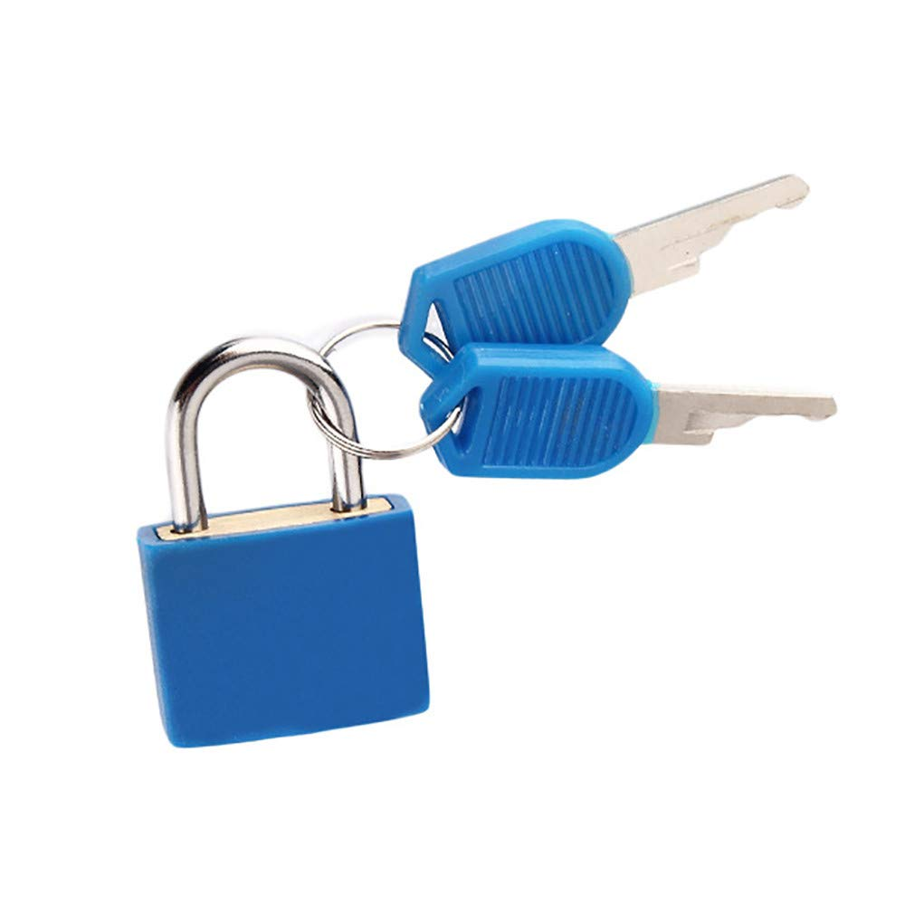 Connia Small Mini Strong Steel Padlock Travel Suitcase Diary Lock With 2 Keys for Travel (Blue)