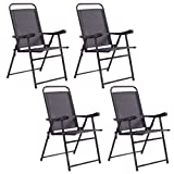 Set Of 4 Folding Sling Chairs Patio Relax Furniture Camping Pool Beach With Armrest Outdoor Indoor