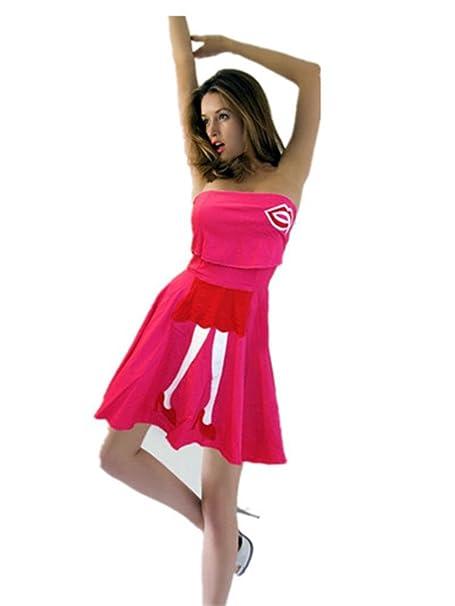 QIYUN.Z Frauen Kleine Mädchen HeißEn Lippen Trägerlosen Verschieben Kurze  Ärmelloses Kleid Sexy Club- 1a4e487b19