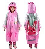 Waterproof Rain Coat Slicker for Kids, Girls, Poncho Jacket Gear