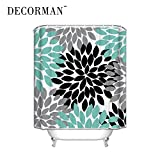 Prime Leader Black Grey Green Dahlia floral Pattern Polyester Waterproof Shower Curtains Bath Decor Curtain,36'(w) x 72'(h)