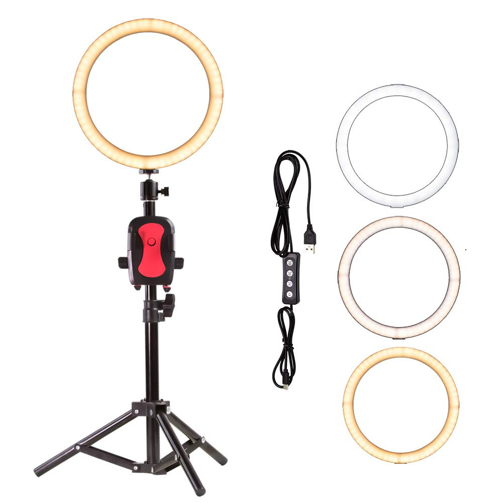 10'' LED Selfie Ring Light for Live Stream/Makeup/YouTube Video, Nugilla Dimmable Beauty Ringlight with Tripod Stand & Cell Phone Holder for iPhone Android Phone,Color Temperature 3000K-6500K by Nugilla