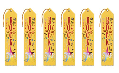 Beistle AR241 6-Piece Rock Star Award Ribbons, 2 by (Ribbon Rock)