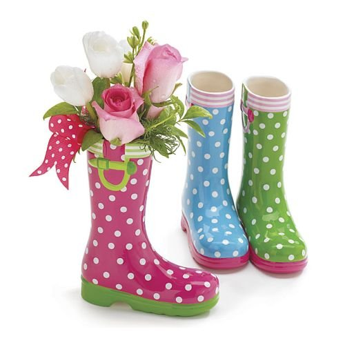 Price comparison product image Set of 3 Spring Colored Rain Boot Vases