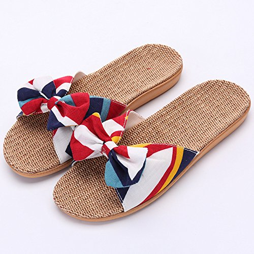 DHGH Women's Casual Bow & Linen Slipper Slip Thick Platform red K30Hc