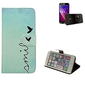 360° Funda Smartphone para Asus ZenFone Zoom, 'smile' | Wallet case flip cover caja bolsa Caso Monedero BookStyle - K-S-Trade (TM)