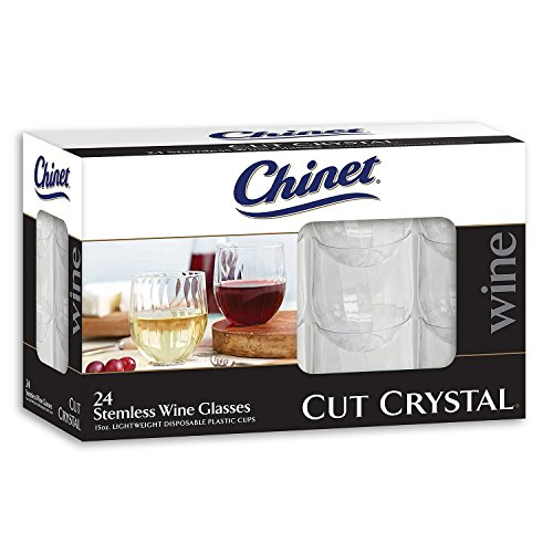 Chinet Stemless Plastic Wine Glasses, 24 Count (Glasses Wine 24)