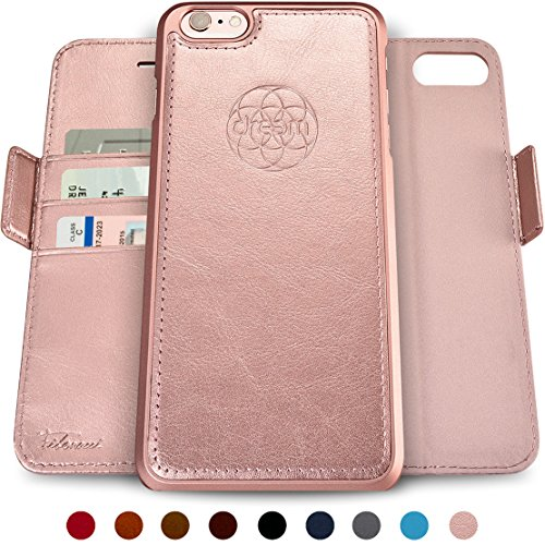 Dreem Fibonacci 2-in-1 Wallet-Case for iPhone 6 & 6s, Magnetic Detachable Unbreakable TPU Slim-Case, RFID Protection, 2-Way Stand, Luxury Vegan Leather, Gift-Box - Rose-Gold