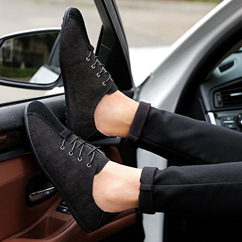 Abby 5053 Mens Casual Sneakers Lace Up Flat Comfort Nuovo Stile Smart Charming Scarpe Nere