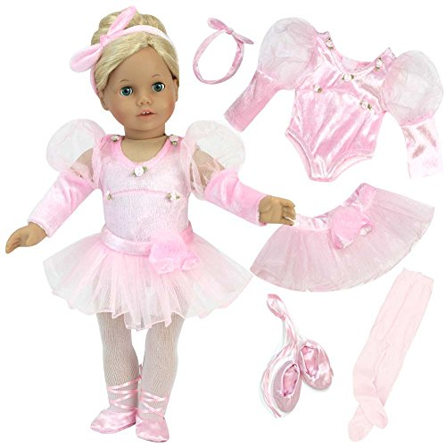 Sophia's 18 inch doll Clothes 5 Pc. Ballet Set fits American Girl Doll | Velour Headband, Pink Doll Ballet Slippers, Pink Doll Tights, Tutu & Pink Velour Leotard |Doll Sold Separately Ballerina Accessories