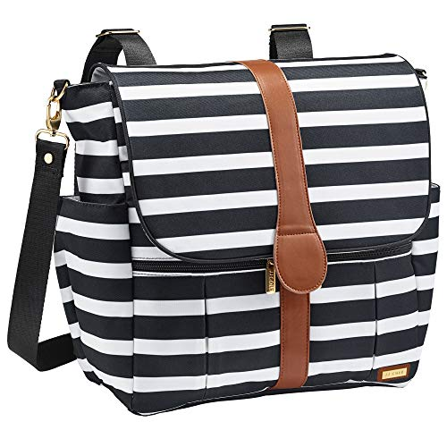 JJ Cole - Backpack, Gender Neutral Large Capacity Diaper Bag, Multifunctional, Stylish, with Stroller Clips and Changing Pad, Black & White Stripe