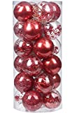 "Sea Team 70mm/2.76"" Shatterproof Clear Plastic Christmas Ball Ornaments Decorative Xmas Balls Baubles Set with Stuffed Delicate Decorations (24 Counts, Red)"