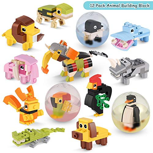 QQPOW Toy Party Favor for Kids Mini Animal Building Block,Creative Stem Toy -