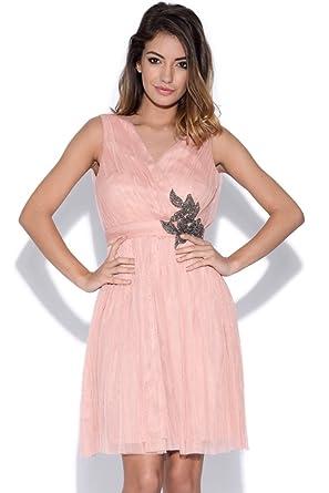 Little Mistress Peach Embellished Prom Dress
