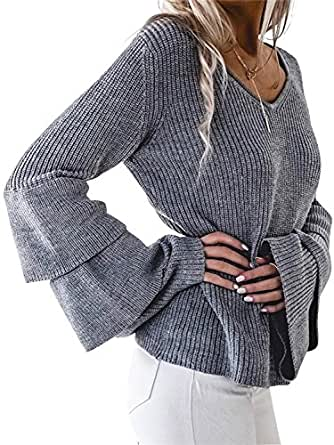 Simplee Women's Winter Warm V Neck Long Sleeve Pullover Sweater With Ruffles, Dark Gray, One Size (US 0-10)