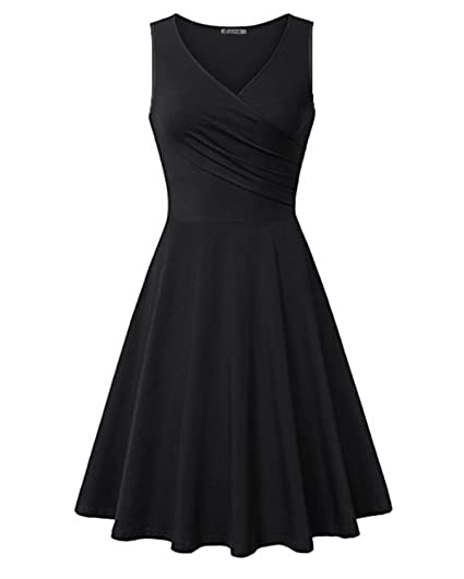 c5299e3b583 Kilig Womens V Neck Sleeveless Summer Casual Elegant Midi Dress At