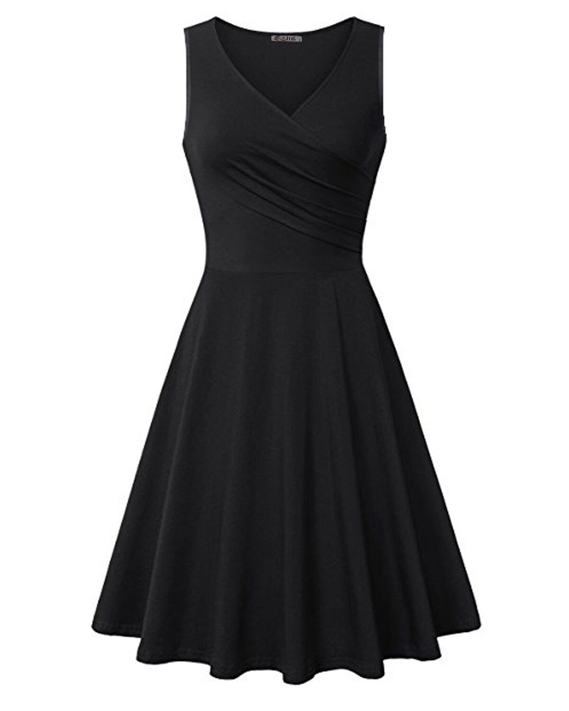 KILIG Womens V Neck Sleeveless Summer Casual Elegant Midi Dress