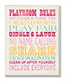 The Kids Room by Stupell Playroom Rules Typography In Pinks, Yellow And Blue Rectangle Wall Plaque, 11 x 0.5 x 15, Proudly Made in USA
