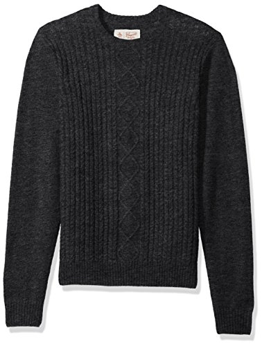 Original Penguin Men's Fisherman's Cable Crew Sweater, Dark Charcoal Heather, Extra Extra Large