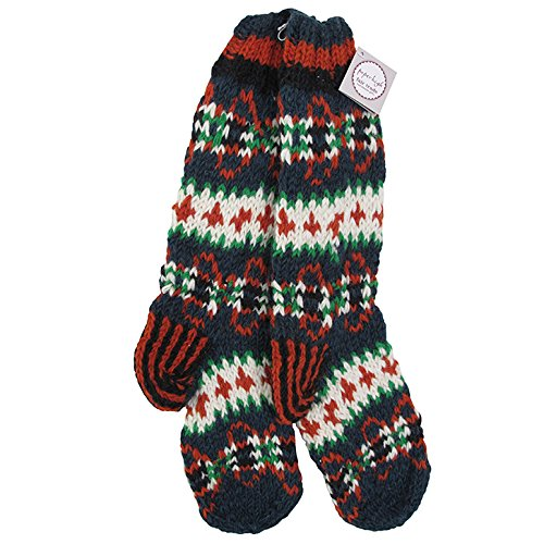 Paper High Funky Tejido a mano invierno lana calcetines de Makalu – naranja, azul y