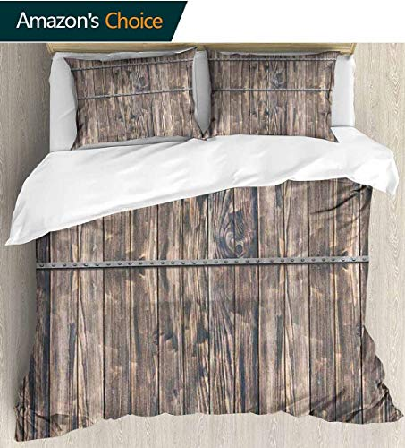 """Wooden 3D Bedding Quilt Set,Rustic Wooden Long Farmhouse Themed Planks with Screws and Lines Nature Art Reversible Coverlet,Bedspread,Gifts for Girls Women 87"""" W x 102"""" L Brown and Grey"""