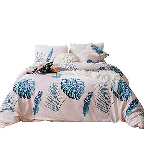 SUSYBAO 3 Piece Duvet Cover Set 100% Natural Cotton Peachpuff King Size Green Leaves Bedding Set with Zipper Ties 1 Blue Monstera Leaf Duvet Cover 2 Pillowcases Hotel Quality Soft Breathable Durable