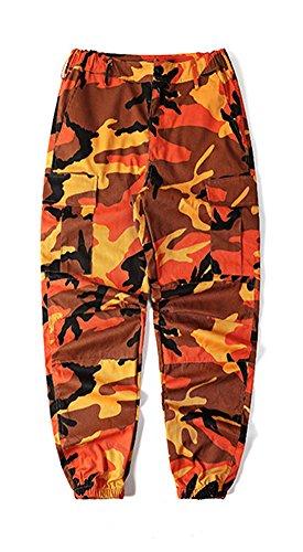 LifeShe Men's Casual Slim Fit Camo Jogger Cargo Pant (Medium, orange)