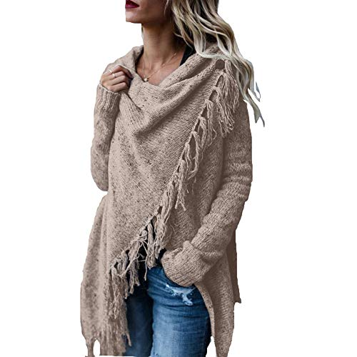 TRAIPAINK AvoDovA Womens Sweaters Casual Cowl Neck Knit Wrap Pullover Asymmetric Hem Sweater Coat with Button (Khaki, Medium)