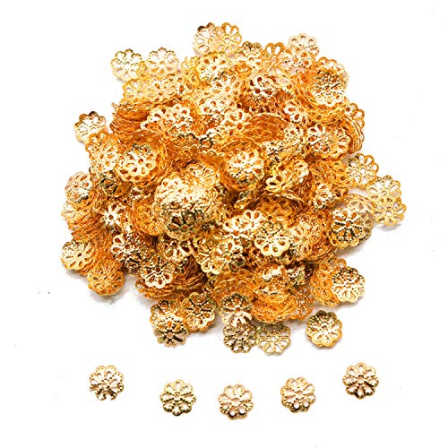 JETEHO 1000 Pieces Gold Iron Filigree Flower Bead Caps for Jewelry Making End Caps,7MM ()