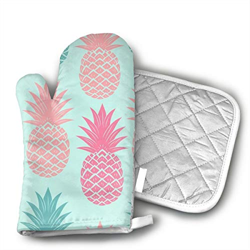 - Ruwoi6 Colored Pineapples Oven Mitts Heat Resistant Cooking Gloves Non-Slip Grip Pot Holders for Kitchen Oven, BBQ Grill and Fire Pits Ideal for Cooking.