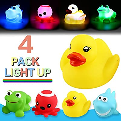 Bath Toy,Can Flashing Colourful Light(4 Pack),Yeonha Toys Floating Bath Toy, Light Up Baby Shower Bathtime Bathtub Toy For Bathroom Kid Boys Girl Toddler Child,Rubber Ducks Octopus Frog Shark by Yeonha Toys that we recomend individually.