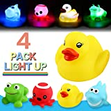 Bath Toy,Can Flashing Colourful Light(4 Pack),Yeonha Toys Floating Bath Toy, Light Up Baby Shower Bathtime Bathtub Toy For Bathroom Kid Boys Girl Toddler Child,Rubber Ducks Octopus Frog Shark