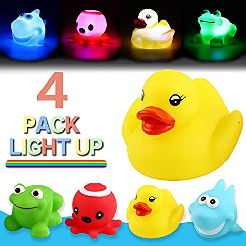 Bath Toy,Can Flashing Colourful Light(4 Pack),Yeonha Toys Floating Bath Toy, Light Up Baby Shower Bathtime Bathtub Toy For Bathroom Kid Boys Girl Toddler Child,Rubber Ducks Octopus Frog (Octopus Bathtub)