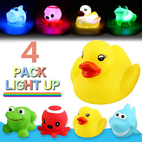Yeonha Toys Bath Toy,Can Flashing Colourful Light(4 Pack), Floating Bath Toy, Light Up Baby Shower Bathtime Bathtub Toy for Bathroom Kid Boys Girl Toddler Child,Rubber Ducks Octopus Frog Shark ()