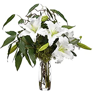 "30"" Hx25 W Casablanca Lily & Eucalyptus Silk Flower Arrangement -White 38"