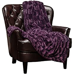 "Chanasya Super Soft Fuzzy Faux Fur Elegant Rectangular Embossed Throw Blanket | Fluffy Plush Sherpa Cozy Violet Purple Blanket for Bed Couch Living Room Fall Winter Spring (50"" x 65"") - Aubergine"